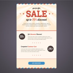 Newsletter template design in flat style with discount offer. Ve