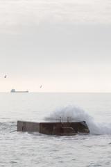 Breaking Waves on Pier