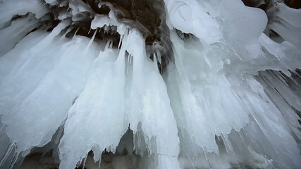 Icicle (Stalactite) Hanging Inside the Rocky Caves