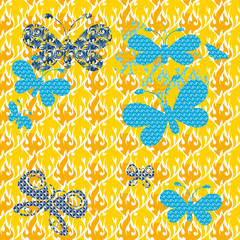 Butterflies on a patterned background Seamless texture