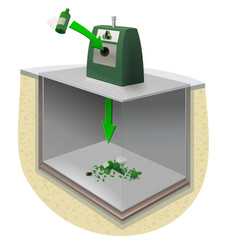 Dépose dans un conteneur enterré de recyclage de verre