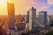 Warsaw downtown - aerial photo of modern skyscrapers at sunset