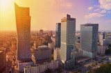 Warsaw downtown - aerial photo of modern skyscrapers at sunset - 72941677