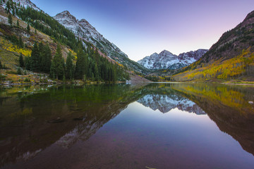Maroon Bells Sunrise Aspen Colorado Vertical Composition reflect