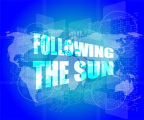 following the sun on digital touch screen, 3d