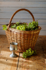 fresh grapes in basket