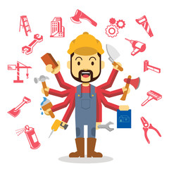 Builders flat illustration. Icon set