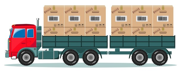 Truck With Cargo Boxes on Trailer, Vector Illustration