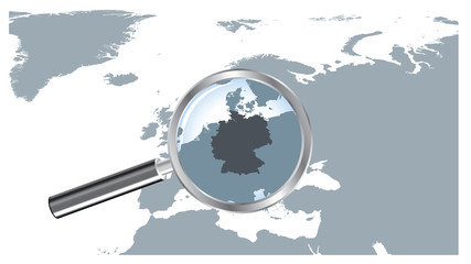 Europe Map Loupe Germany - Gray EPS8