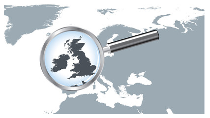 Europe Map Loupe UK Ireland - Gray EPS8