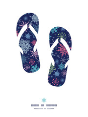 Vector snowflakes on night sky flip flops silhouettes pattern