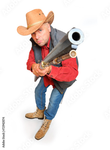 canvas print picture Hunter with big bore rifle isolated on a white background.