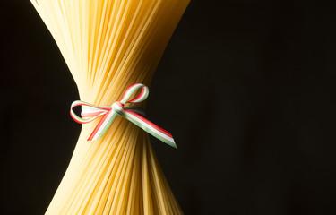 Spaghetti on the black background