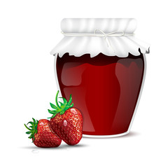 Strawberry marmalade in a jar and fresh strawberries