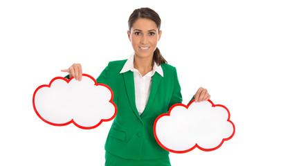 Isolierte Business Frau in Grün: Konzept Vorteile Nachteile