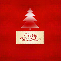 Christmas knitting  background with christmas tree