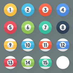 Colored Pool Balls. Numbers 1 to 15 and zero ball.