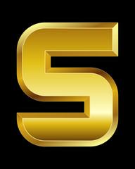 rectangular beveled golden font, number 5