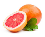 grapefruit and slice with leaves isolated