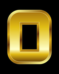 rectangular beveled golden font, letter O