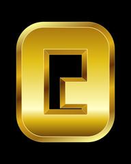 rectangular beveled golden font, letter Q