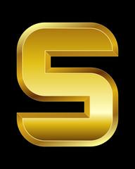 rectangular beveled golden font, letter S