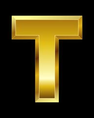 rectangular beveled golden font, letter T