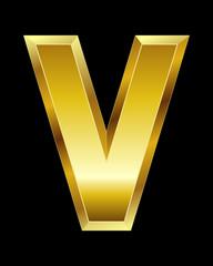 rectangular beveled golden font, letter V
