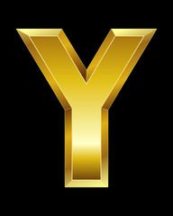 rectangular beveled golden font, letter Y