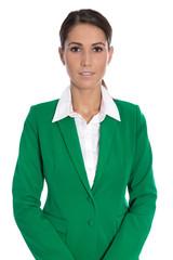 Portrait: Bewerbungsfoto einer jungen Geschäftsfrau in Grün