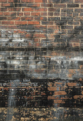 Old Stained and Painted Brick Wall Background