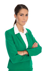 Portrait of a smiling isolated businesswoman wearing green blaze