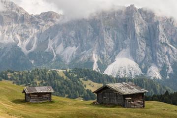 wooden barns in Val Gardena, Dolomites