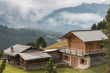 wooden huts in South Tyrol