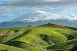 Country Scene Of Volcano Etna Snowcapped, Sicily