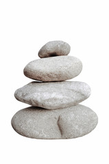 balancing stones isolated on white background. zen stones