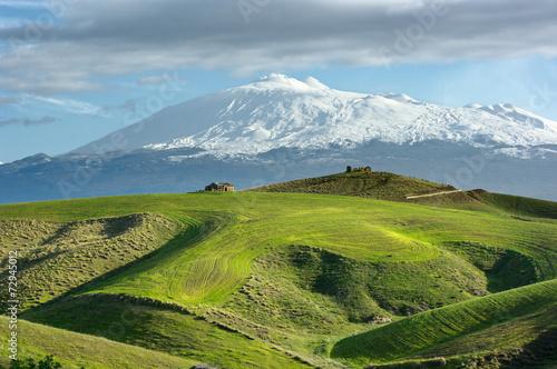 Country Scene Of Volcano Etna Snowcapped, Sicily - 72945012