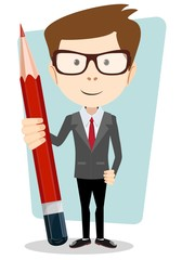 Businessman in jacket with a big red pencil