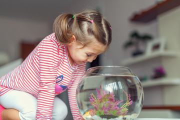 little cute girl and goldfish
