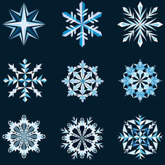 Abstract snowflake shapes isolated