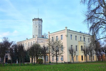 Palace with tower in Myslakowice Poland