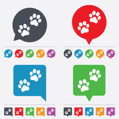 Paw sign icon. Dog pets steps symbol.