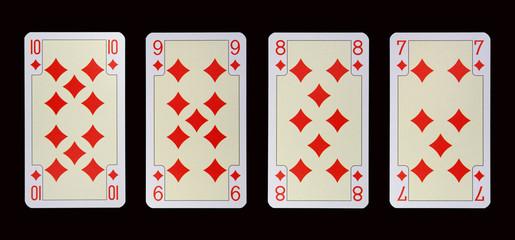 Spielkarten der Ladys - Karo Zehn-Sieben