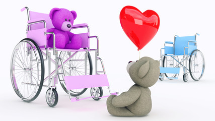 Concept of love. Two teddy bears in wheelchair with red heart
