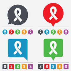Ribbon sign icon. Breast cancer awareness symbol