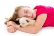 blond kid girl with puppy chihuahua dog sleeping