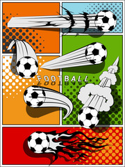 Set of football - comic style