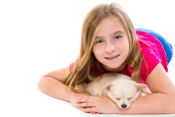 blond kid girl with puppy chihuahua pet dog