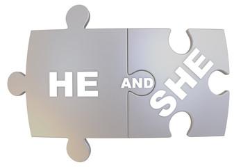 Он и она (he and she). Концепция взаимоотношений полов