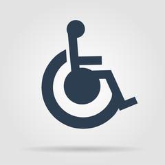 cripple Flat black Simple Icon , isolated on white background